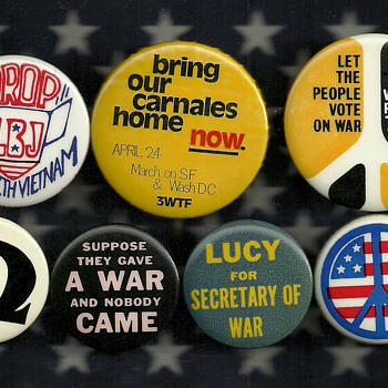 7 More Anti Vietnam Protest Pinback Buttons - Medals Pins and Badges