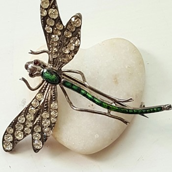 Large early 20th century paste, enamel, silver dragonfly brooch.