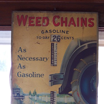 WEED CHAINS gasoline tin sign - Petroliana