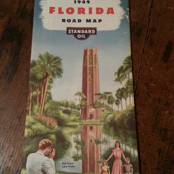 Standard Oil 1949 Florida Road Map - Petroliana