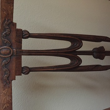 Antique hand carved chair with pegged joinery