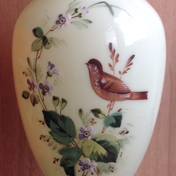 Large Victorian Vase With Bird. - Glassware