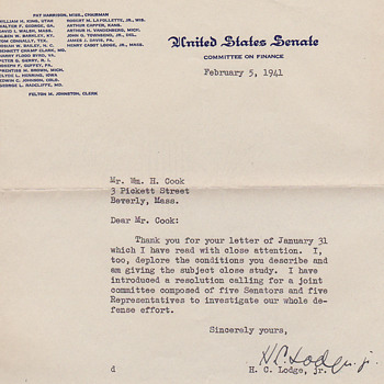 letter from  Henry Cabot Lodge, Senator from Massachusetts in 1940