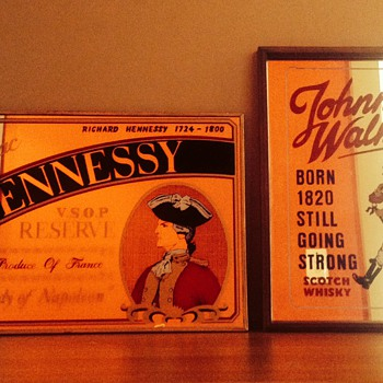 Congnac Hennessy V.S.O.P RESERVE & Johnny Walker mirror bar advertisement signs. - Advertising