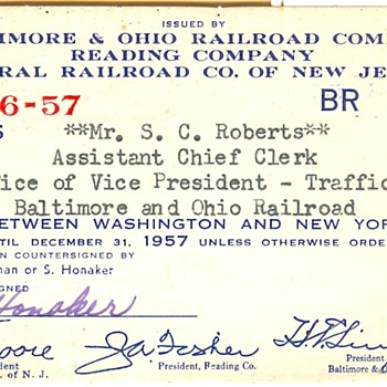 Multiple Company Railroad Pass