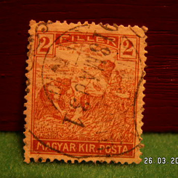 Vintage Magyar Kir Posta 2 Filler Stamp ~ Used