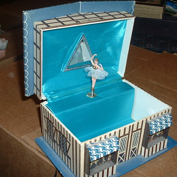 "Vintage Music box/Jewelry box with Ballerina, Fudge Kitchen cottage that plays ""Fascination"""