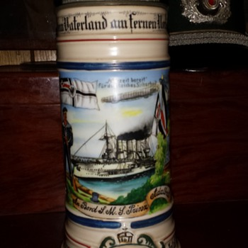Naval Reservist's Stein whose ship was torpedoed twice by British submarines - Breweriana