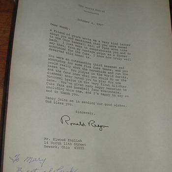 Ronald  Reagan letter to Woody Enlgish