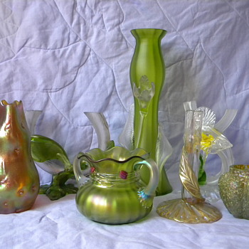 Art Nouveau Kralik Satin Tube Applied Leaf Vase
