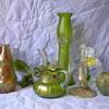 Art Nouveau Kralik Satin Tube Applied Leaf Vase