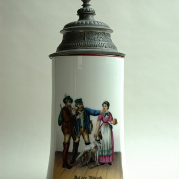 antique  german porcelain beer stein.