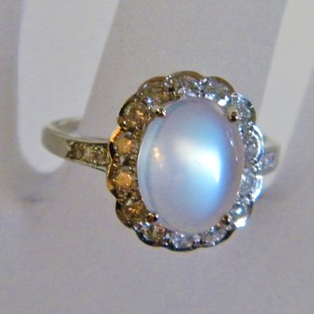 Vintage Deco Ceylon Moonstone Diamond 14k Ring - Fine Jewelry