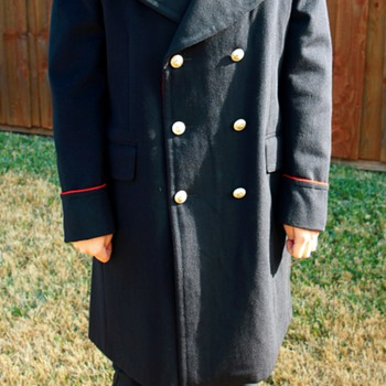 Vintage Navy-Blue Wool Military Coat