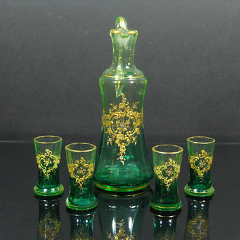 Uranium glass Bohemian enameled cordial set - Art Glass