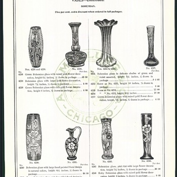 1901 A. C. McCLURG &CO. BOHEMIAN GLASS  CATALOG PAGES - Art Glass