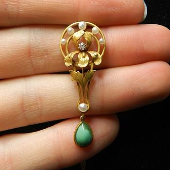 14k Art Nouveau Lavalier Pendant - Turquoise/Diamond/Pearl