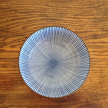 Striped blue & white bowl