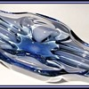 Blue Oblong Art Glass Bowl -- Unknown