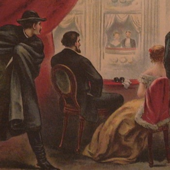 Assassination Of President Lincoln Antique Colored Print Ford's Theater - Visual Art