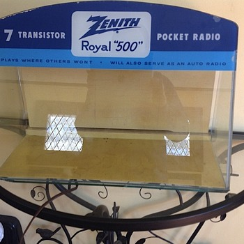 Zenith Radio Point of Sale Display case, lighted, painted glass - Radios