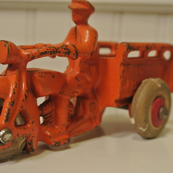 "Cast Iron Motorcycle ""Crash Car"" w/Red Wooden Wheels and White Rubber Tires - Toys"