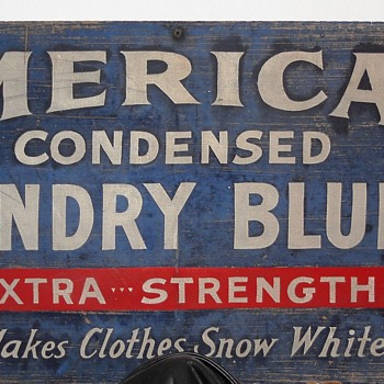 American Condensed laundry bluing sign