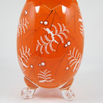 Possibly Harrach Rare Enameled Orange Glass Cracked Egg Vase  - Art Glass