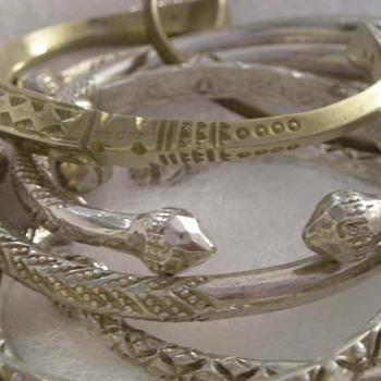 Help Identify Bracelets - Silver and Zinc(?) Tribal Handmade
