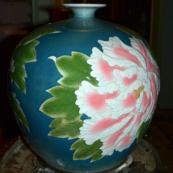 Very Large Urn / Vase with Peony Decorations - Made in China