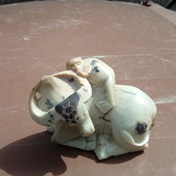 My soap stone Buffalo and monkey