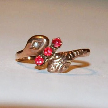 English, 9 Carat Rose Gold and seed pearl ,Double Headed, Victorian Snake Ring