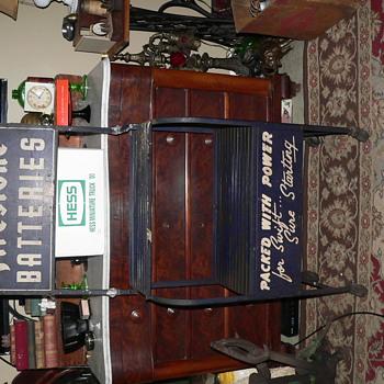 Vintage Firestone Batteries display cart