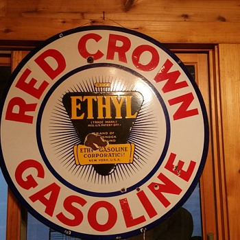 Red Crown Ethyl Porcelain Sign