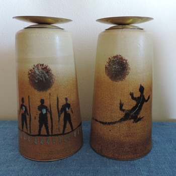 Large heavy duty stoneware candle holders - Art Pottery