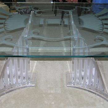 ART DECO (NOUVEAU?) STYLE GLASS DINING TABLE