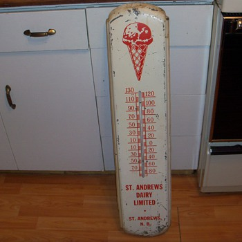 St. Andrews Dairy Thermometer Tin Sign - Advertising