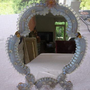 Beautiful Vintage Italian Venetian Murano Glass Vanity Dresser Tabletop Mirror - Furniture