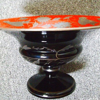 CZECH MARKED ENAMELED DECO EXPORT COMPOTE