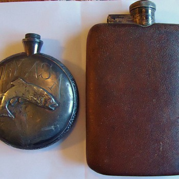 Vintage Flask, silver plate,  English and? - Sterling Silver