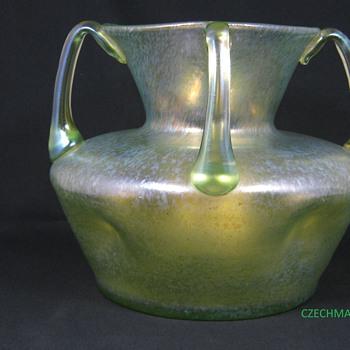 Loetz Olympia Ciselé  Uranium four handled vase ca 1900 - Art Glass