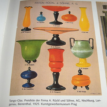 Ruckl Glass Fans:  PMG Band VI Czech 1925 Tango Glass Item Documentation - Art Glass