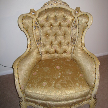 Deutsch Bros. chair - ornate wingback in gold & pink floral