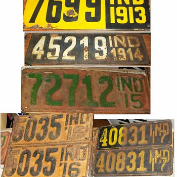 Indiana license plate collection 1913-1930 - Signs