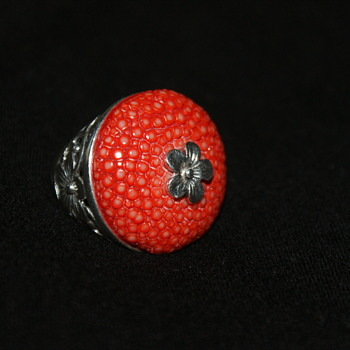 Sterling and Shagreen Ring Made in Thailand
