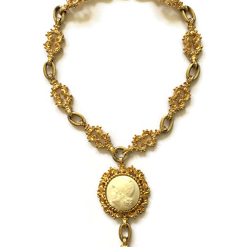 Vintage Nettie Rosenstein Ornate Cameo Fob Necklace