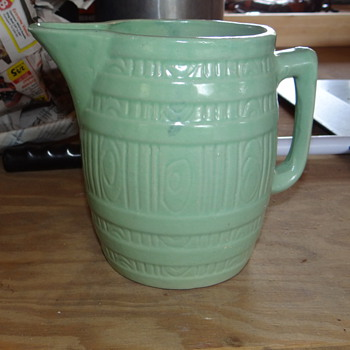 Green Barrel Milk Glass Pitcher  - Art Pottery