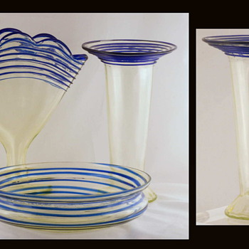 A Welz Decor Not Often Seen - Vaseline With Cobalt Threading - Art Glass