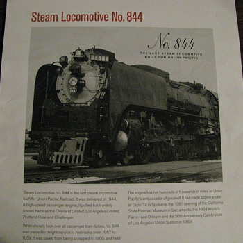Steam Locomotive No. 844 - Railroadiana