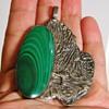 "Vintage Handmade Malachite Sterling Silver Pendant Cuff Bracelet ""O'rhern""???"